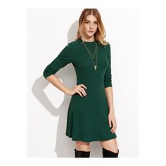 SheIn(sheinside) Green Long Sleeve Ribbed Skater Dress ($14) ❤ liked on Polyvore featuring dresses, green, green dress, cotton dresses, short-sleeve skater dresses, long sleeve a line dress and short a line dresses