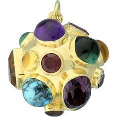 18k Gold Sputnik Miner's Large Ball Charm Pendant -- found at www.rubylane.com @rubylanecom #vintagebeginshere