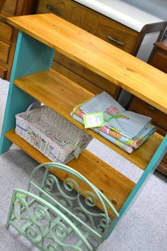 "Solid Wood Bookcase / Bookshelf - Knotty Pine Top and Shelves with Turquoise Painted Base - 36"" W x 12.5"" D x 30.5"" H"