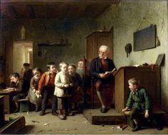 """""""The classroom"""". Théodore Bernhard de Heuvel (1817 – 1906), Belgian painter."""