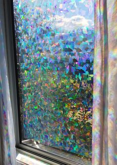 "Decorative Window Film Holographic Prismatic Etched Glass Effect - Fill Your House with Rainbow Light 24"" X 36"" Panels $45"