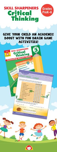 Exercise your child's critical thinking skills with these colorful workbooks! The variety of fun and creative activities will challenge your child to use higher-order thinking skills. These activity books make great gifts! (Grades PreK-6) Check out Evan-Moor's full line of Skill Sharpeners activity books for at-home practice of skills.