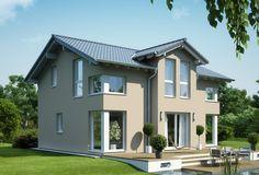 Modernes Stadthaus mit Satteldach - Haus Evolution 125 V4 Bien Zenker - Fassade Putz Grau HausbauDirekt.de