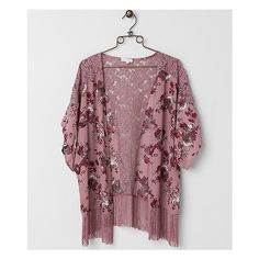 Coco & Jameson Floral Cardigan ($40) ❤ liked on Polyvore featuring tops, cardigans, pink, chiffon cardigan, floral kimono, fringe cardigan, floral fringe kimono and pink floral kimono
