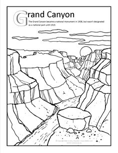 Grand Canyon Coloring Page At Gilabencom Arizona Coloring Coloring Sheets, Adult Coloring, Coloring Books, Coloring Pages, Grand Canyon Activities, Grand Canyon Arizona, Arizona Trip, Voyage Usa, Touch Math