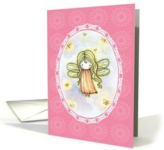 Mystical / Myths / Fantasy card: Thinking of You Card - Cute Firefly Fairy Greeting Card by Molly Harrison