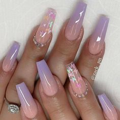 Acrylic Nails Coffin Pink, Square Acrylic Nails, Summer Acrylic Nails, Coffin Nails, Frensh Nails, Swag Nails, Gel Ombre Nails, Glitter Nails, Ombre Nail Designs