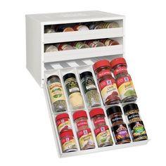 YouCopia Chef's Edition SpiceStack 30-Bottle Spice Organizer, White