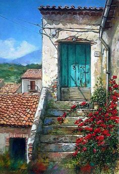 by Francesco Mangialardi Watercolor Landscape, Watercolor Paintings, Watercolour, Rooftop Garden, Old Doors, Painting Inspiration, Painting & Drawing, Scenery, Art Gallery