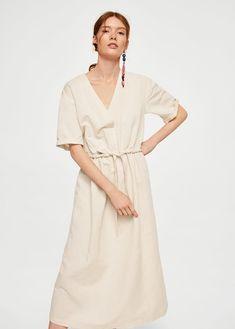Φόρεμα λινό ζώνη