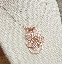 Collana di rame. Minimalista. Rame. A spirale. Cluster.