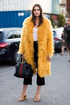 5. Mustard Fur Coat 2017 Street Style