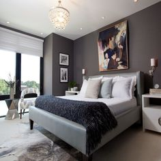 Navy and Grey Bedroom - Ideas to Divide A Bedroom Check more at http://maliceauxmerveilles.com/navy-and-grey-bedroom/