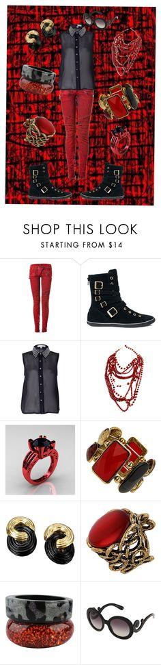"""black&red"" by faleur102 ❤ liked on Polyvore featuring Balmain, Converse, Rare London, Amrita Singh, Modern Vintage, Dorothy Perkins, Nicholas King, Prada and 128"