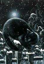 Irina Garmashova-Cawton - Artiste Peintre Animalier - Spécialiste des Peintures et Portraits Félins - Noir Blanc - Chat sous la neige