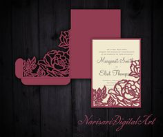 Peonies Wedding Invitation Pocket Envelope 5x7, SVG Template, Quinceanera card, floral laser cut file, Silhouette Cameo, Cricut