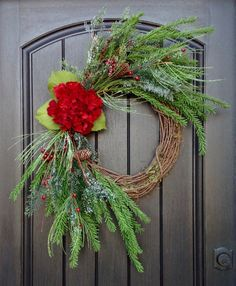 READY TO SHIP Christmas Wreath Winter Wreath Holiday Door Decor Wispy Pine Red Berry Branches Red HydrangeaFloral Door Monogrammed Decor