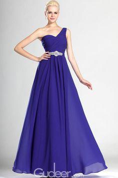 blueviolet one shoulder ruched sleeveless crystal long evening dress