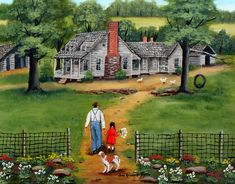 Going to Grandpa's Country Memories Old House Flowers Dog Chickens Tire Swing Man Girl Green Trees Folk Art by Arie Reinhardt Taylor by jagartist on Etsy
