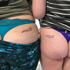 Cute Butt Tattoos That Are Very Cheeky Ocean Tattoos, Shark Tattoos, Baby Tattoos, Line Tattoos, Wrist Tattoos, Bikini Line Tattoo, Tattoo On, Small Shark Tattoo, Shark Tooth Tattoo