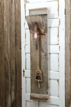Wall Lamp# DIY# Old shovel# Barn wood# wall lamp made out of old shovel and barn wood