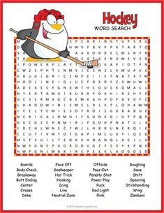 Free Printable Hockey Word Search Hockey Hockey