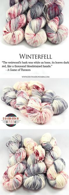 Hand-dyed, worsted weight yarn inspired by Game of Thrones! Winter is coming. Yarn for knitting, crochet, and DIY craft projects.