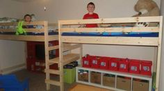 Loft bed modified to fit two twin beds with a shared single step. Good idea!