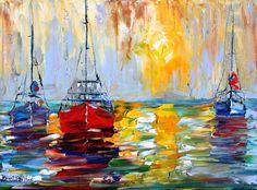 Original oil painting BOATS PALETTE KNIFE fine by Karensfineart