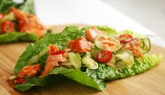 Lettuce Wraps with Smoked Salmon and spicy jalapenos make a seriously yummy Phase 2 snack or meal! Get the recipe from our newsletter.