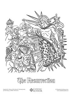 The Resurrection -  Free Hand-Drawn Catholic Coloring Pictures