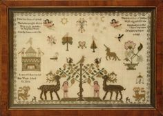 English Needlework by Frances Battarby 1802 Embroidery Sampler, Cross Stitch Samplers, Adam And Eve, Crossstitch, Old And New, Art Forms, 19th Century, Stitches, Needlework