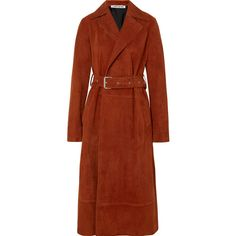 Elizabeth and James Jules belted suede coat (8.805 RON) ❤ liked on Polyvore featuring outerwear, coats, brown, suede leather coat, brown coat, elizabeth and james coat, rust coat and elizabeth and james