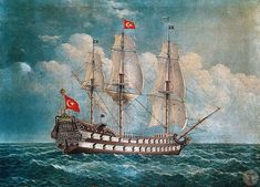 An Ottoman Galleon سفينة شراعية حربية عثمانية . An Ottoman Galleon سفينة شراعية حربية عثمانية # Ottoman Turks, Nautical Art, Puerto Rico, Ottoman Empire, Historical Pictures, Ancient Artifacts, Ancient Rome, Byzantine, American Artists