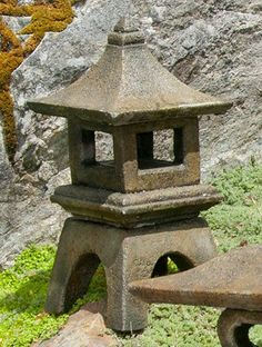 Mini Japanese Lantern - Osaka. Stained ornamental concrete statue for Japanese garden or outdoor patio .