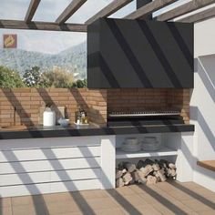 Barbacoa a medida Brutus Outdoor Fireplace, Outdoor Decor, Outdoor Rooms, Barbecue Design, Modern Patio, Backyard Landscaping Designs, Rooftop Design, Bali Style Home, Outdoor Kitchen Decor