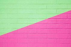 Mint Green & Pink Brick Wallpaper