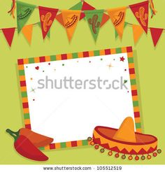 Mexican party card with sombrero, bunting and space for text ...