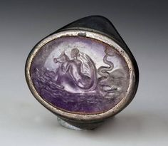 Ancient & Medieval History — Roman Amethyst Intaglio of a Nereid Riding A. Renaissance Jewelry, Medieval Jewelry, Ancient Jewelry, Stone Jewelry, Crystal Jewelry, Jewelry Art, Jewelry Design, Cameo Jewelry, Antique Rings