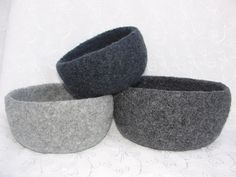 Hand Knit Felted Oval Nesting Bowls in Shades of Gray Wool Yarns. $42.00, via Etsy.