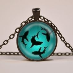 """Circling Sharks Pendant Necklace 1"""" Glass Dome Cover Jewelry Charm Round Circle - Plated Silver or Brass or Copper or Black"""