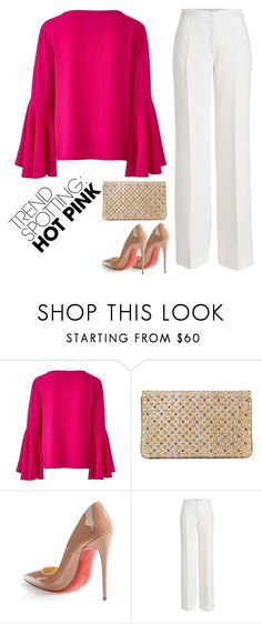 """a classy way"" by lamodeparmea ❤ liked on Polyvore featuring Christian Louboutin, Agnona, contestentry and NYFWHotPink"