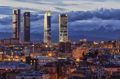 Madrid skyline (II) by Carlos Luque on España Real Madrid, Foto Madrid, Madrid Skyline, Places To Travel, Places To Visit, Times Square, Amazing Buildings, City Buildings, World Cities