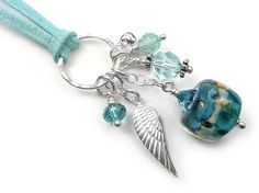 Lampwork Glass Pendant - Angel Wing Cluster