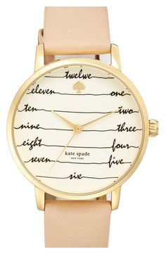Free shipping and returns on kate spade 'time on wire' leather strap watch, 34mm at http://Nordstrom.com. Flowing cursive indexes offer whimsical timekeeping on a sophisticated kate spade watch tailored with a smooth leather strap.