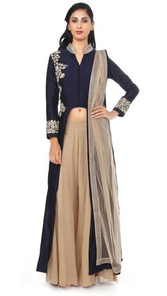 ANEESH AGARWAAL. navy blue chanderi kurta top with embroidery and beige pallazo pants and dupatta