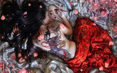 Japanese female painting a Japanese girl. Naked ? Tattoos, or something more ???