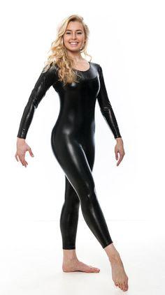 Leather Catsuit, Leather Pants, Black Catsuit, Shiny Leggings, Tight Leggings, Dance Outfits, Sexy Outfits, Pantalon Vinyl, Purple Leotard