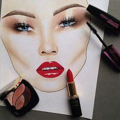 Glossy #makeup #makeupbag #makeupaddict #makeupartist #makeupjunkie #makeupoftheday #instabeauty #instamakeup #glossy #redlips #rose #loreal #missmanga #blakelively #face #facechart #illustration #sketch #draw #drawing #art #portrait Mac Makeup, Makeup Art, Insta Makeup, Mac Face Charts, Makeup Face Charts, Face Art, Art Faces, Makeup Drawing, Learn Makeup