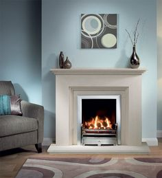 Cranbourne Limestone Fireplace Package With Gas Fire Cream colour - not white Chrome/silver fire surround Cream Fireplace, Classic Fireplace, Wooden Fireplace, Limestone Fireplace, Living Room With Fireplace, Fireplace Design, Fireplace Mantels, Home Living Room, Living Room Designs